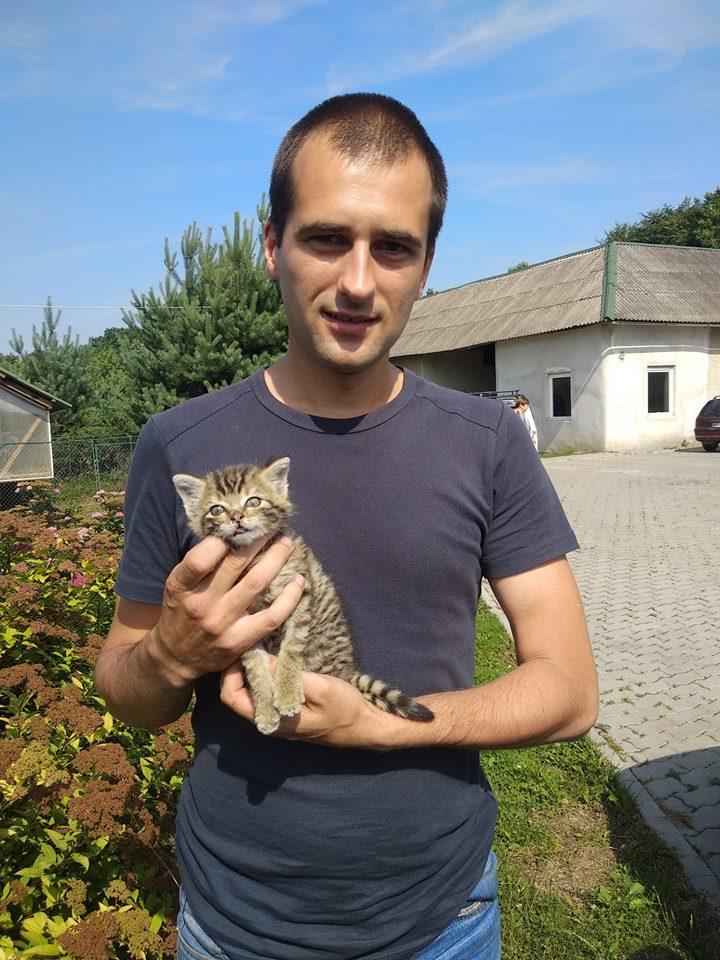 Небайдужий вінничанин врятував та передав до Галицького нацпарку кошеня лісового кота (фото)